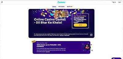 Casumo India Casino homepage screenshot