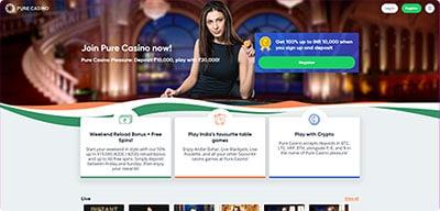 Pure Casino India homepage screenshot