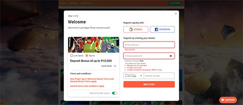 betting site signup with facebook or google