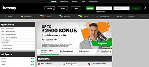 Betway India sports bonus screenshot