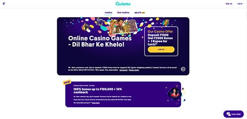 Casumo casino India homepage screenshot