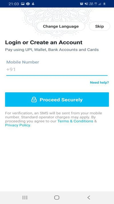 login page on PayTM