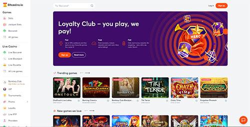 Screenshot of the bitcoin casino Bitcasino.io
