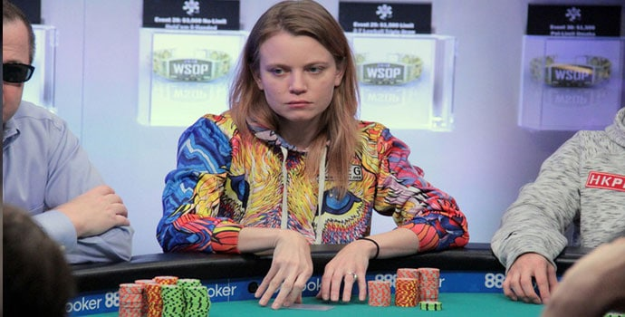 Cate Hall playing poker