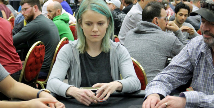 Cate Hall with a serious poker face
