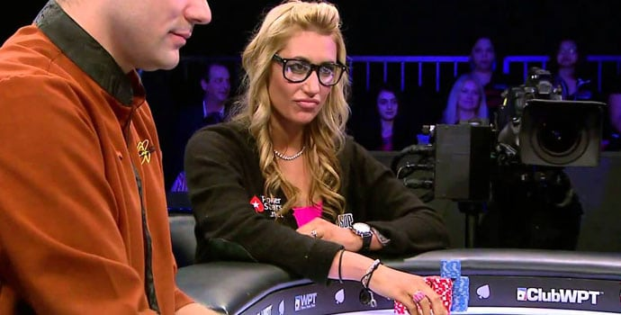 Vanessa Rousso at the Head's up table wearing a poker stars jumper